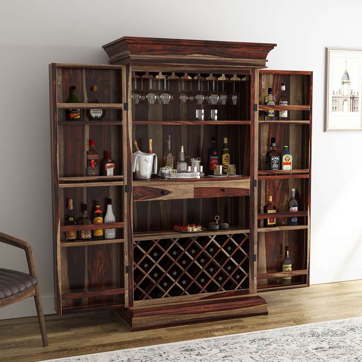 Wood Wine Bar ~ Ohio rustic solid wood tall wine bar cabinet