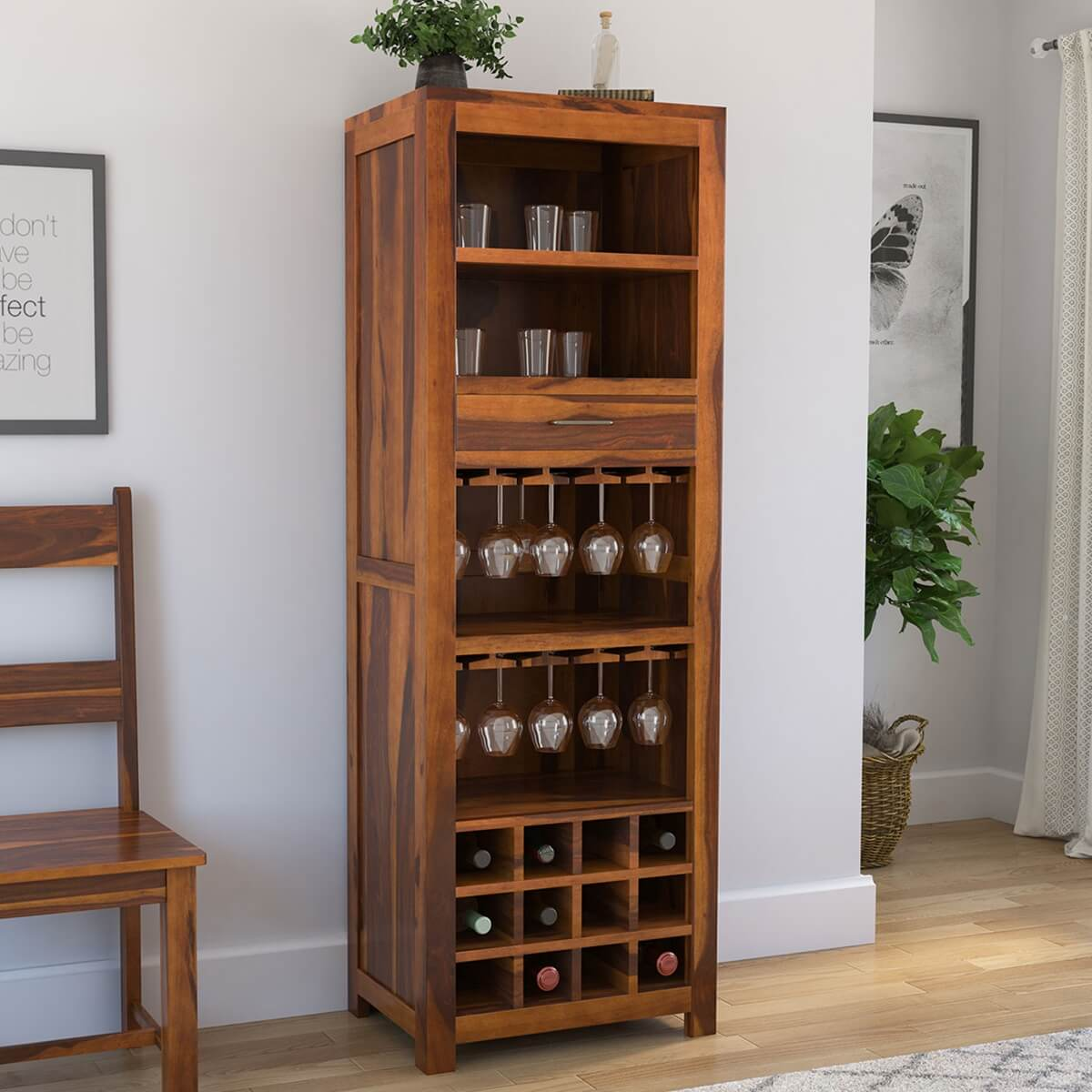 Modern Home Bar Cabinet: California Contemporary Handcrafted Solid Wood Rustic Tall