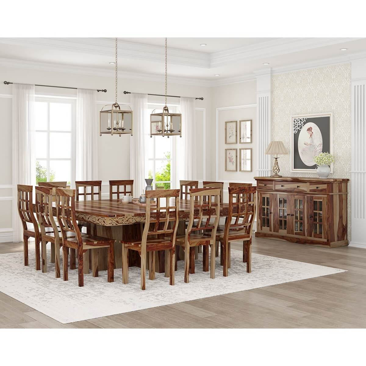 Dallas Ranch Square Pedestal Solid Wood 15 Piece Dining