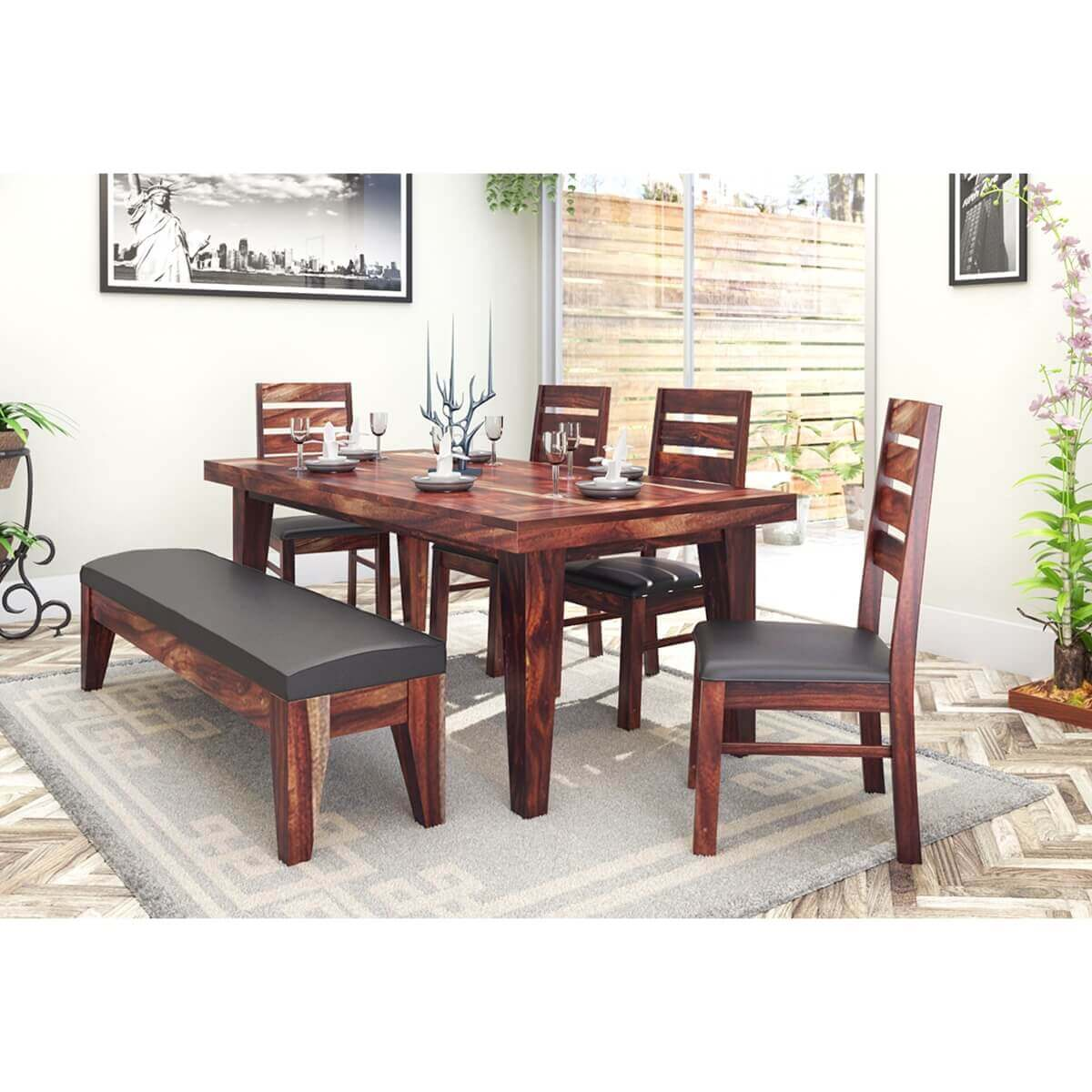 Sienna Large Wooden Rustic Dining Table Chair Set With Bench