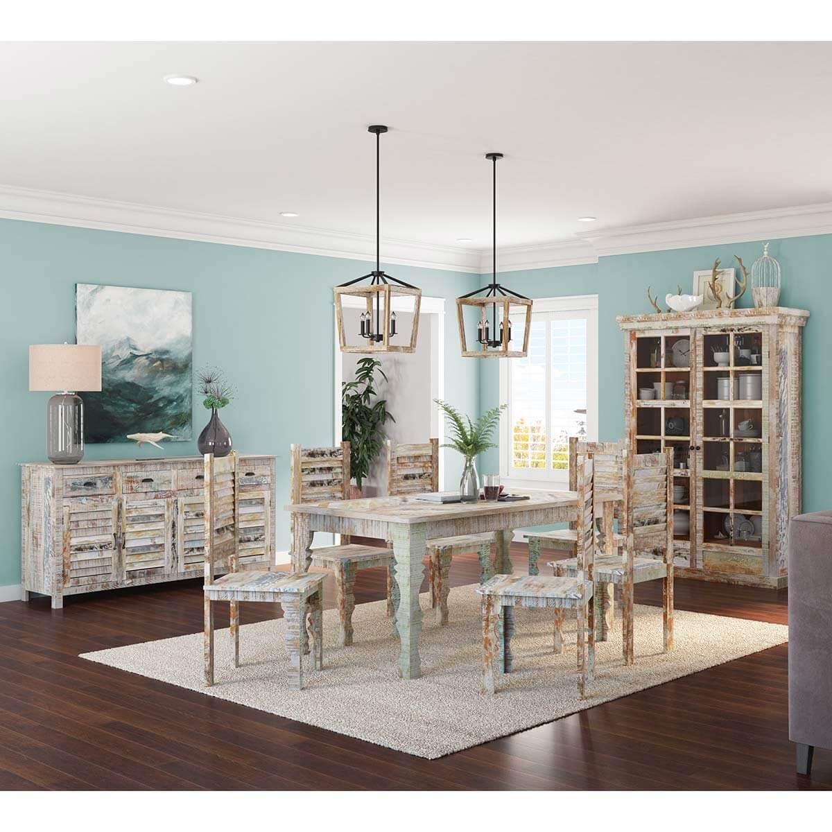 Tucson Rainbow Rustic Reclaimed Wood 9Pc Dining Room Set