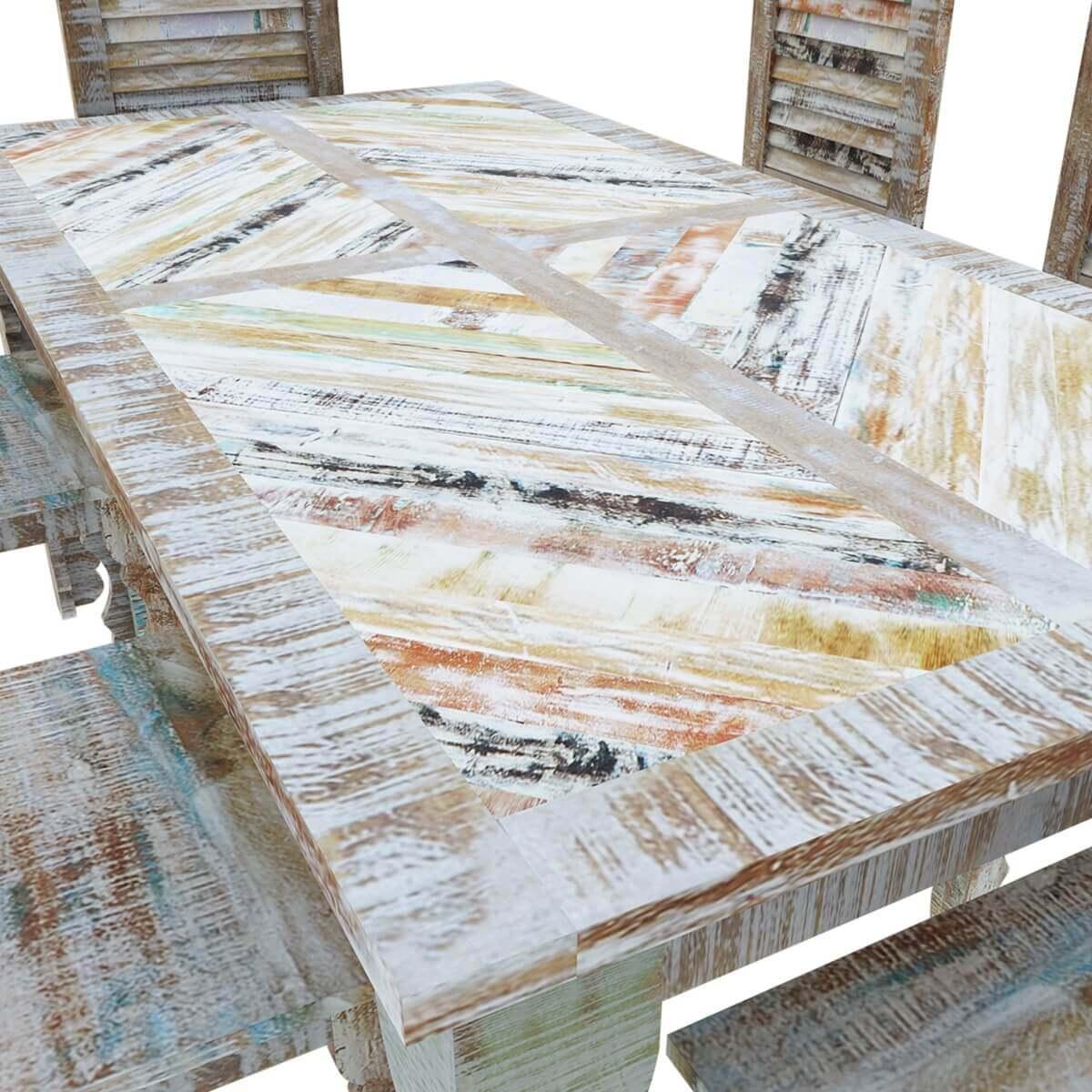Tucson Rainbow Rustic Reclaimed Wood 9Pc Dining Room Set - Rainbow Rustic Reclaimed Wood 9Pc Dining Room Set