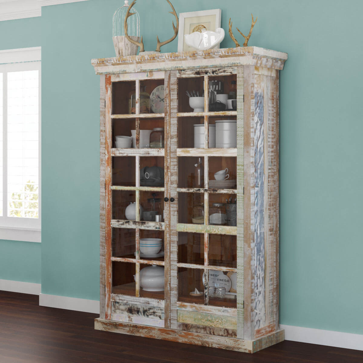 Tucson Rainbow Rustic Reclaimed Wood Glass Door Display Cabinet