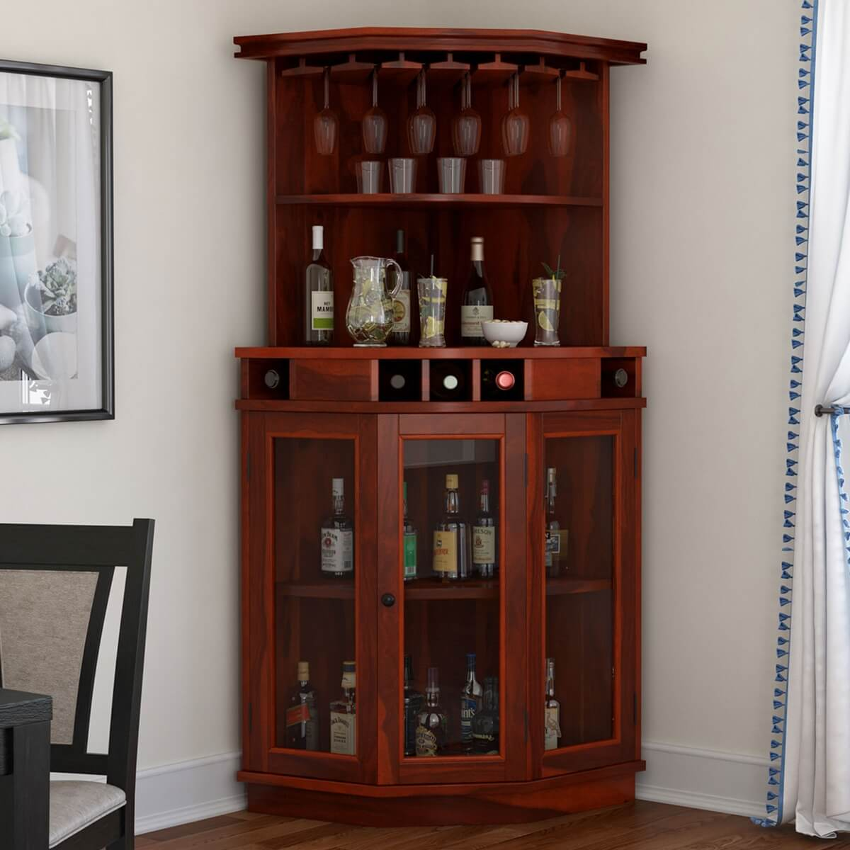 Griffin Glass Door Solid Rosewood Corner Wine Bar Cabinet