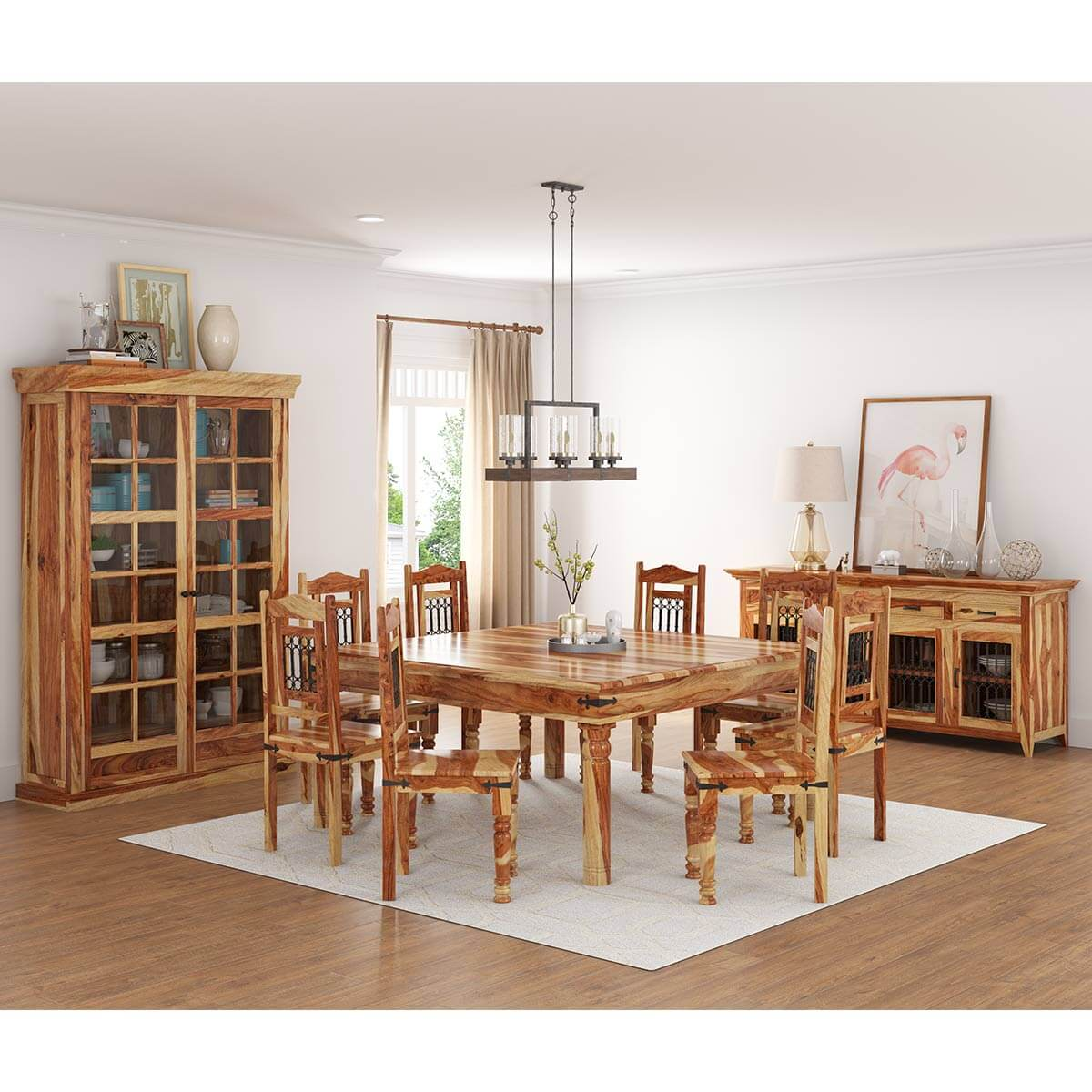 11 piece dining room set peoria rustic solid wood 11 piece square dining room set 6378
