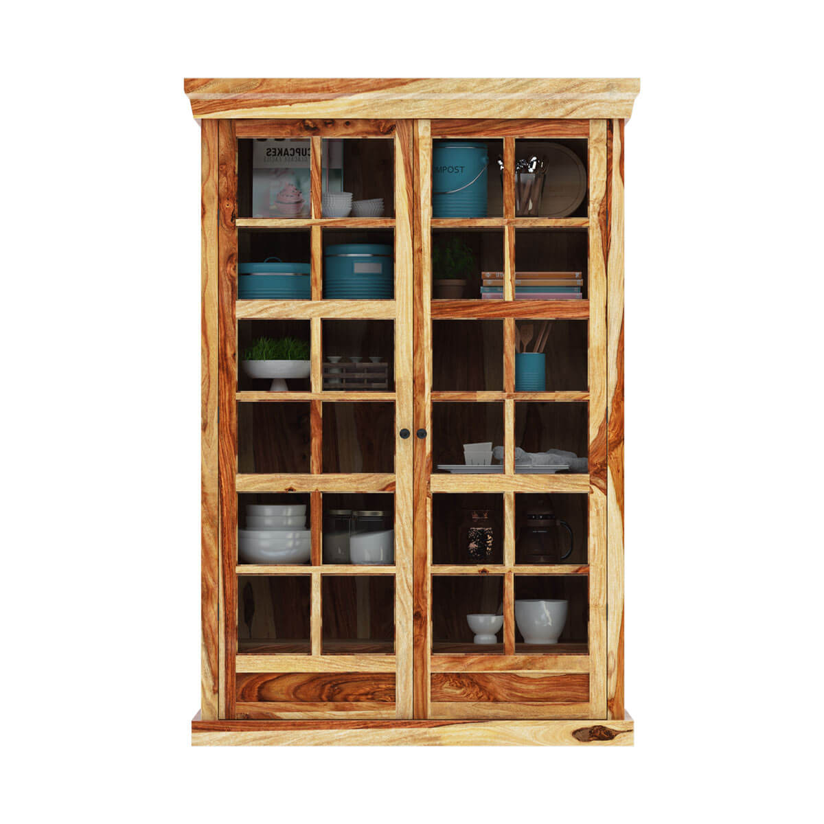 Peoria rustic solid wood glass sliding door large storage for Solid wood door with glass