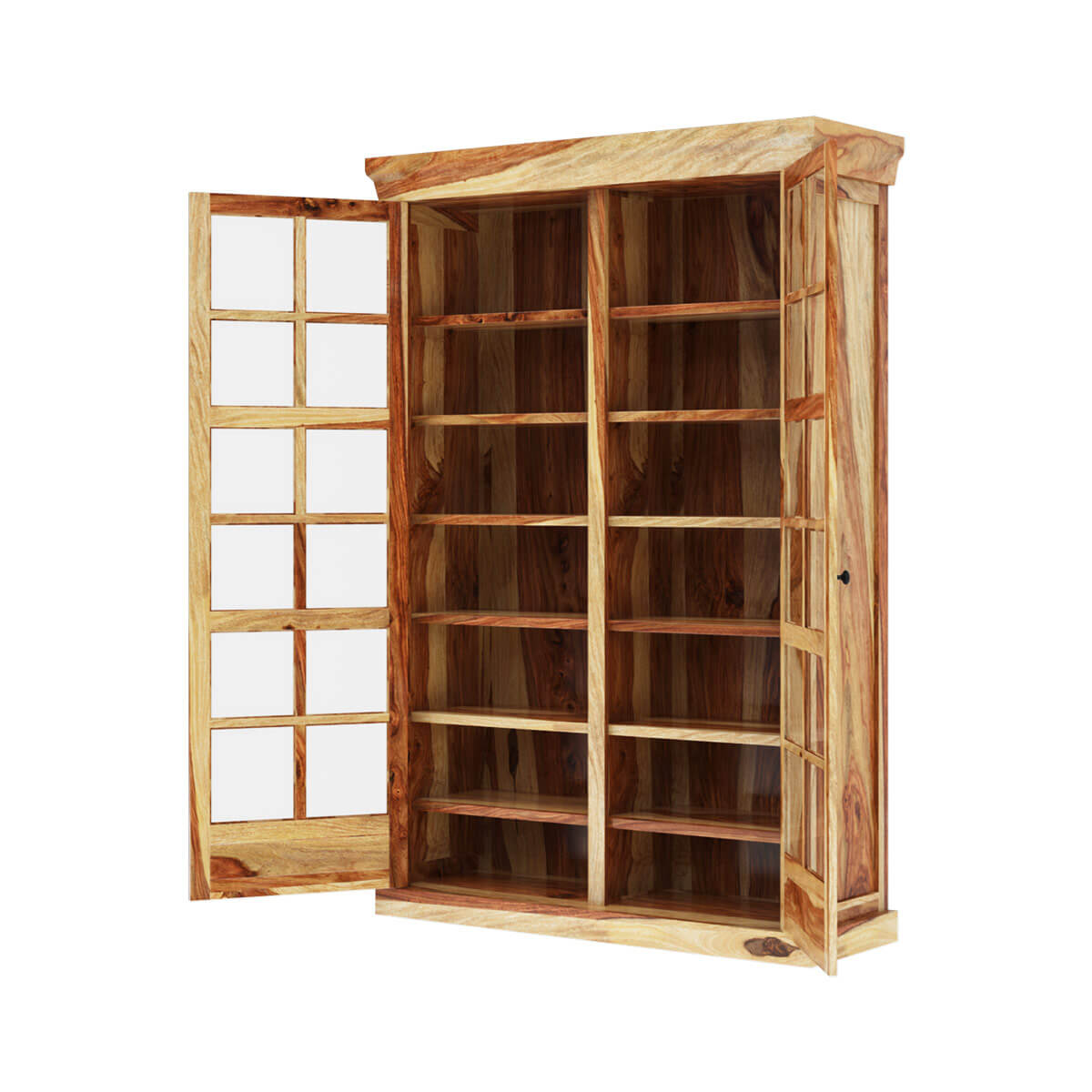 Peoria rustic solid wood glass sliding door large storage for Wood sliding glass doors