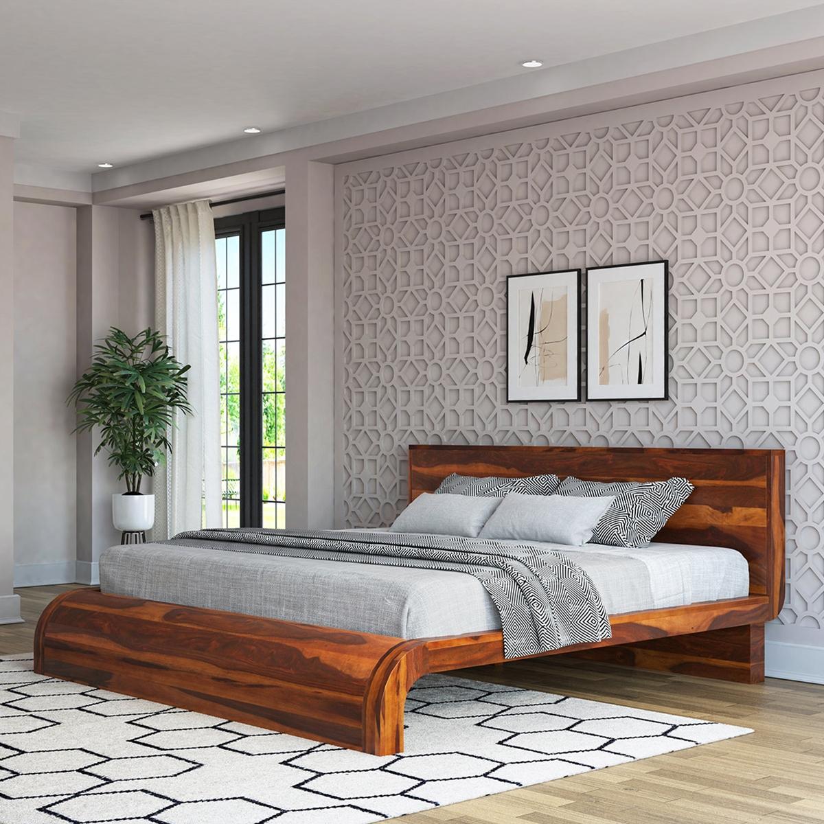 rebecca solid wood curved platform bed. Black Bedroom Furniture Sets. Home Design Ideas