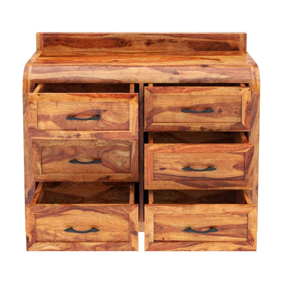 Rebecca solid wood 6 drawer bedroom double dresser for Bedroom 6 drawer dresser