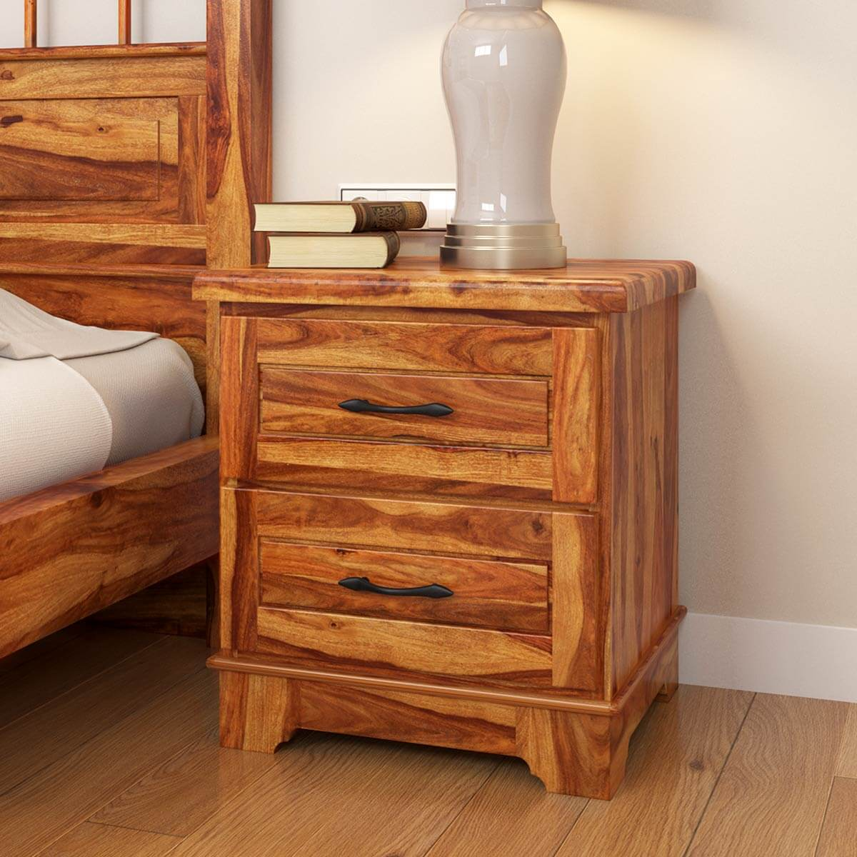 colonial rail top solid wood nightstand with drawer. Black Bedroom Furniture Sets. Home Design Ideas
