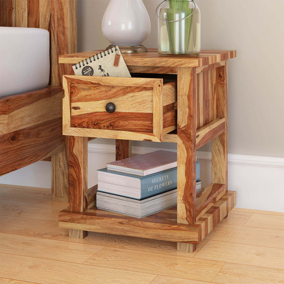 Dallas ranch rustic solid wood nightstand with drawer for Rustic wood nightstand
