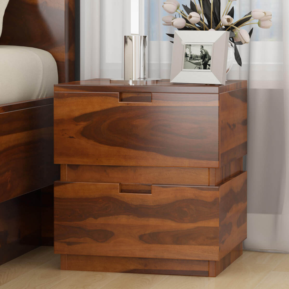 Modern simplicity box style solid wood nightstand with drawers for Wood nightstand with drawers