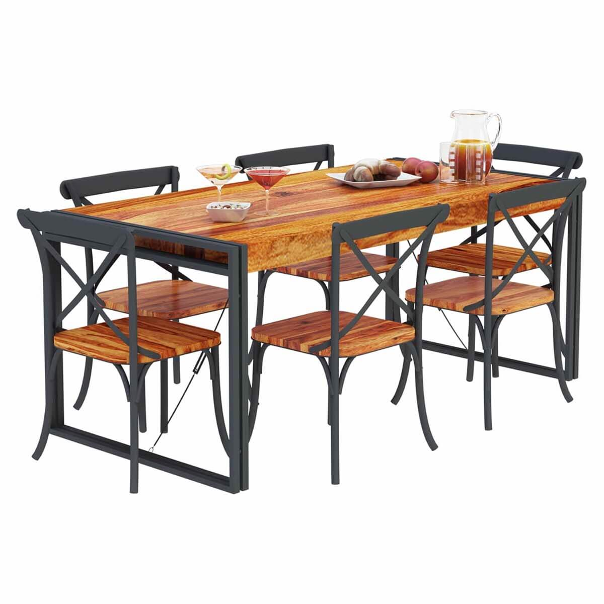 Handmade Solid Wood Island Units: Texas Industrial Handmade Rustic Solid Wood Dining Table