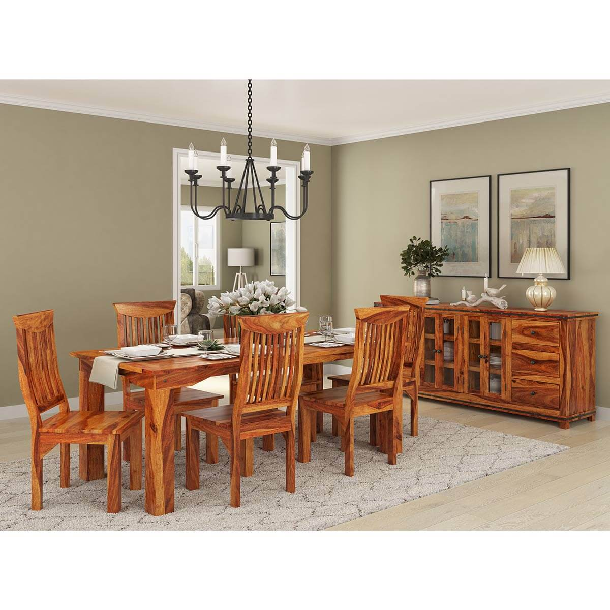 Idaho Modern Rustic Solid Wood Rectangle 9 Piece Dining Room Set