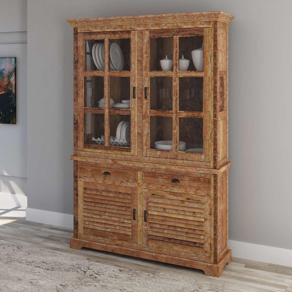Rustic Teak Wood Tall Handcrafted China Hutch