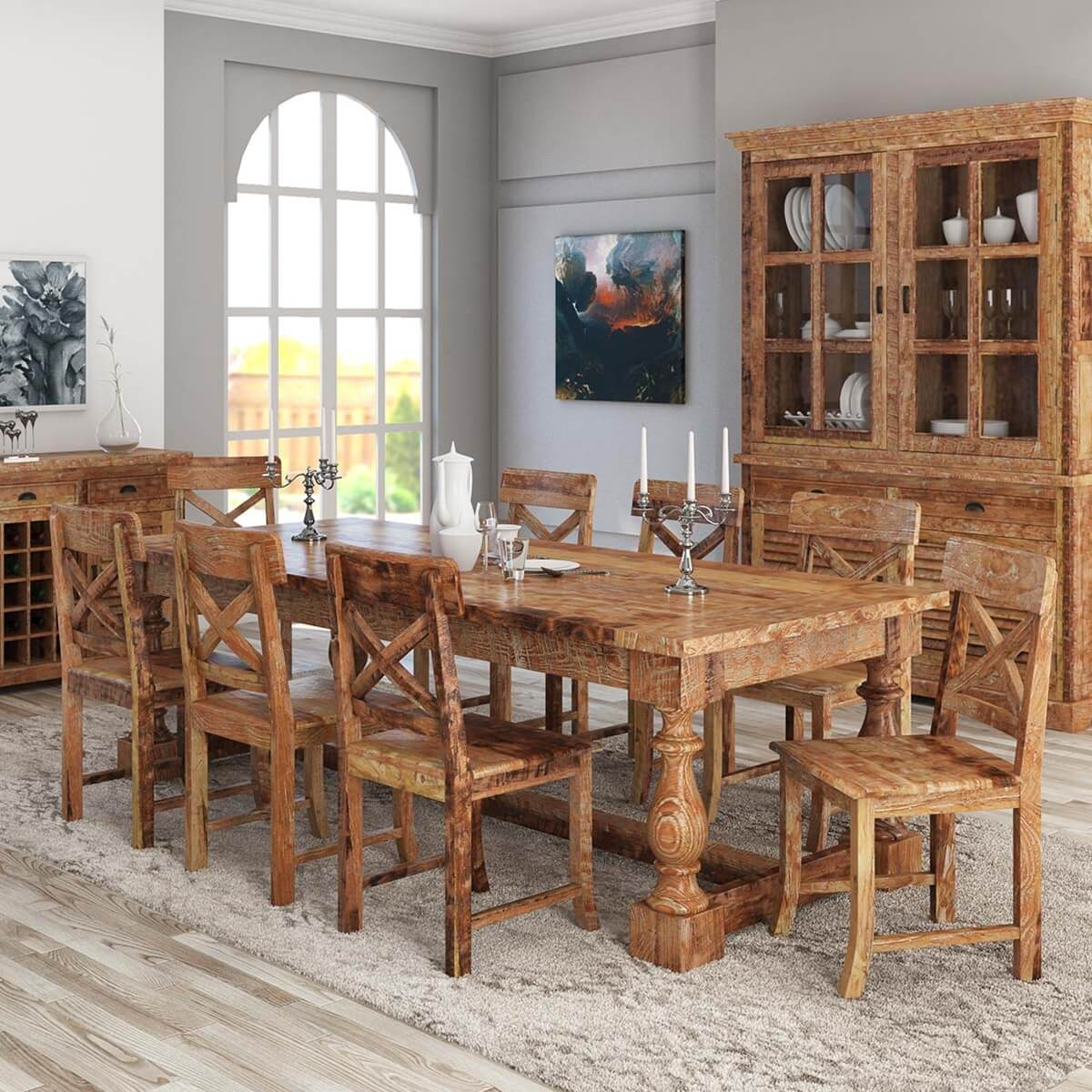 Britain Rustic Teak Wood Trestle Base Dining Table and ...