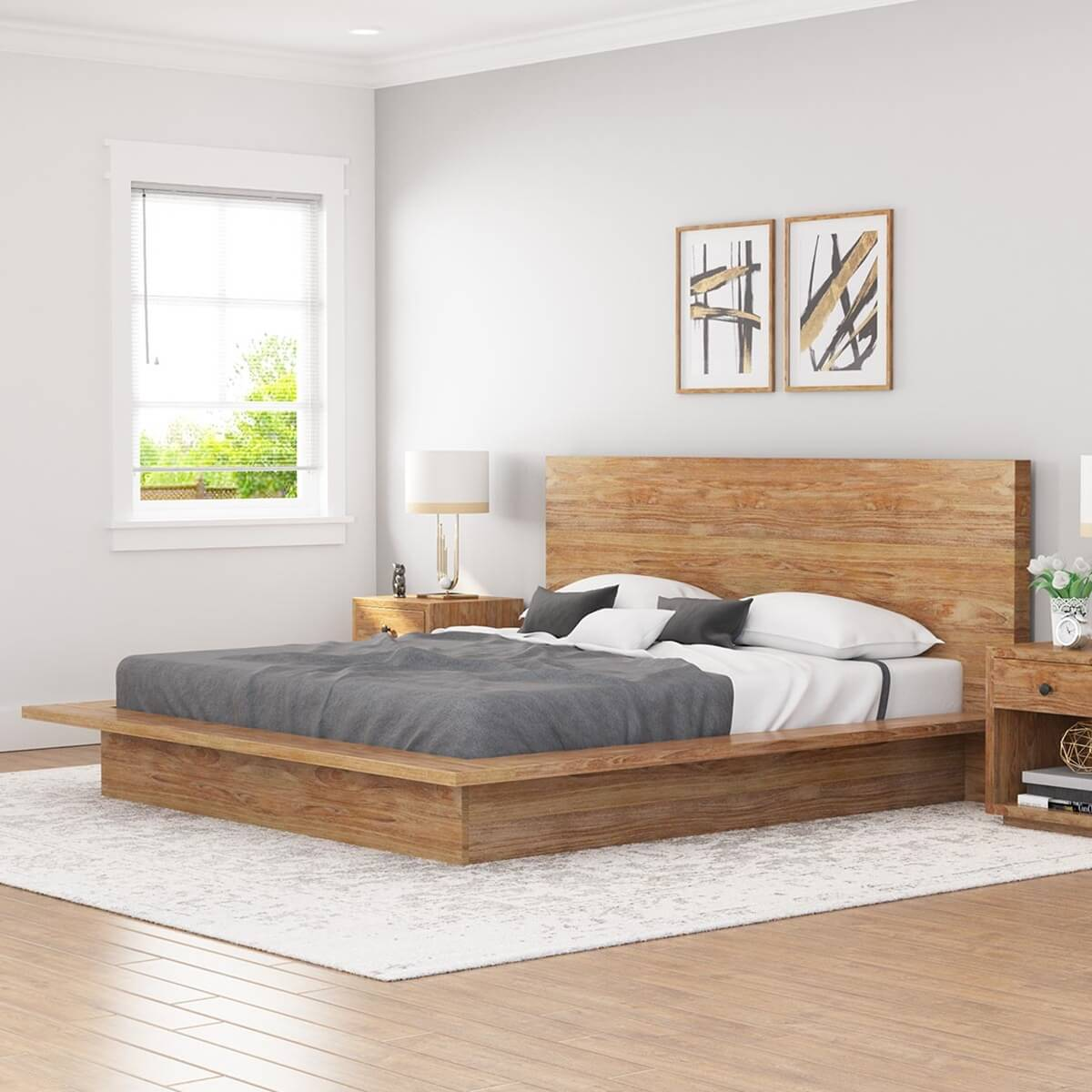 Britain Rustic Teak Wood King Size Platform Bed Frame