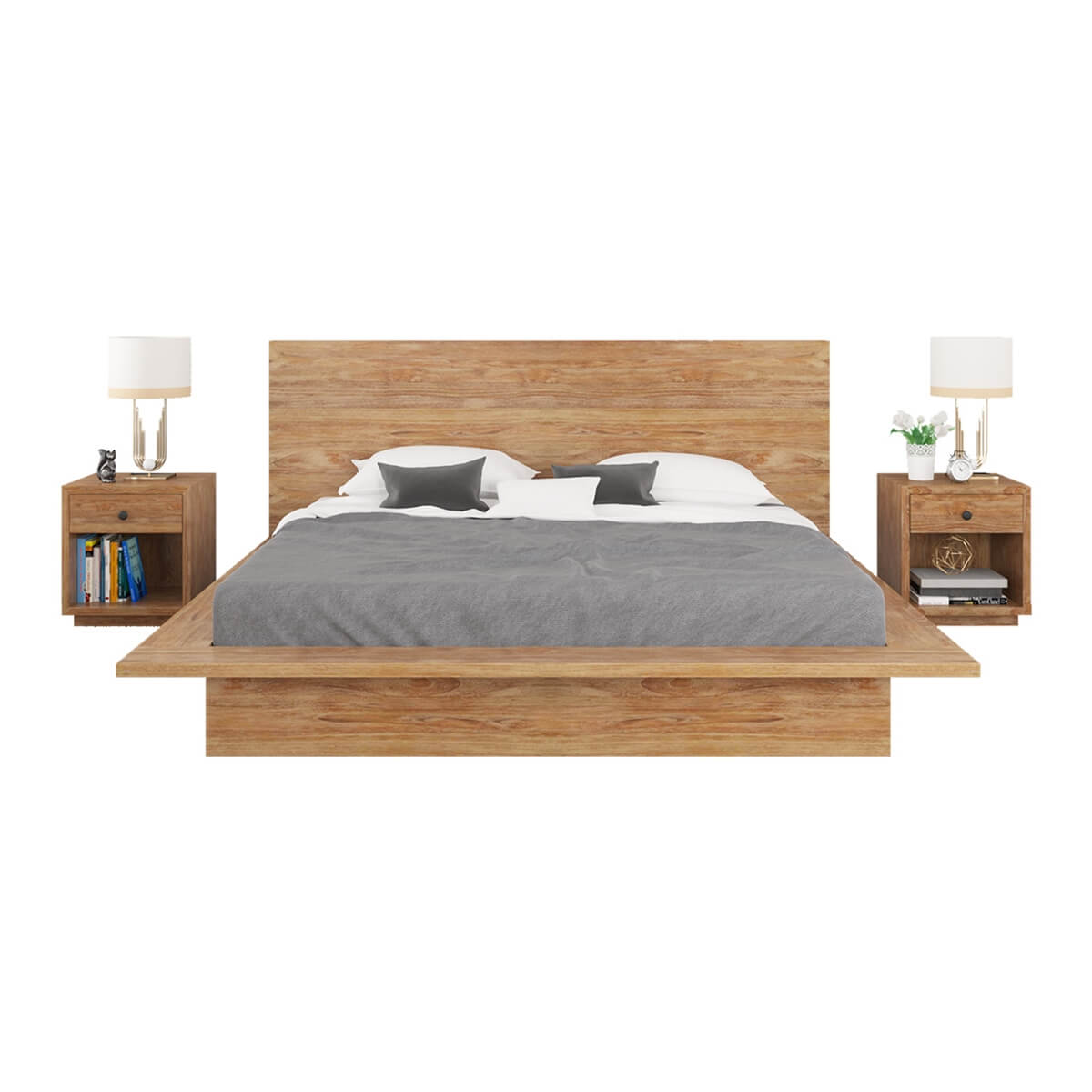 Britain rustic teak wood platform bed frame Rustic bed frames