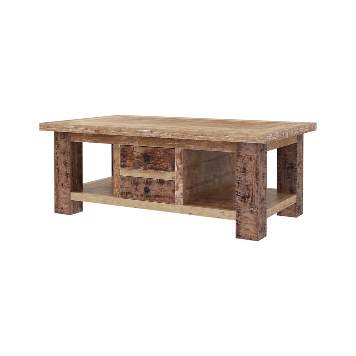 Britain Handcrafted Rustic Teak Wood 2 Drawer Coffee Table