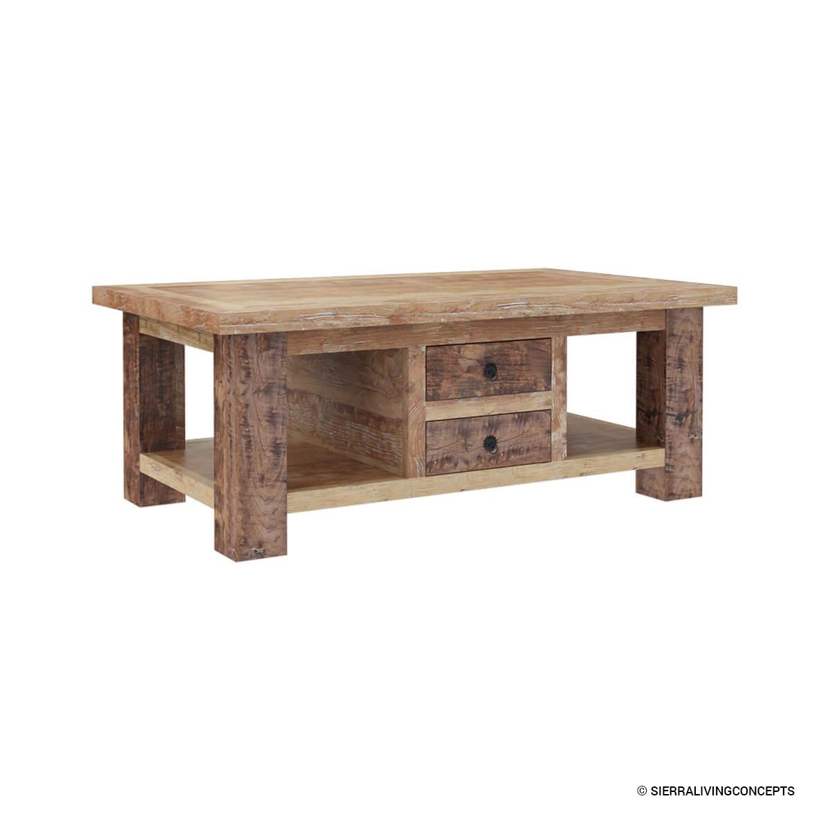 Britain Handcrafted Rustic Teak Wood 2 Drawer Coffee Table