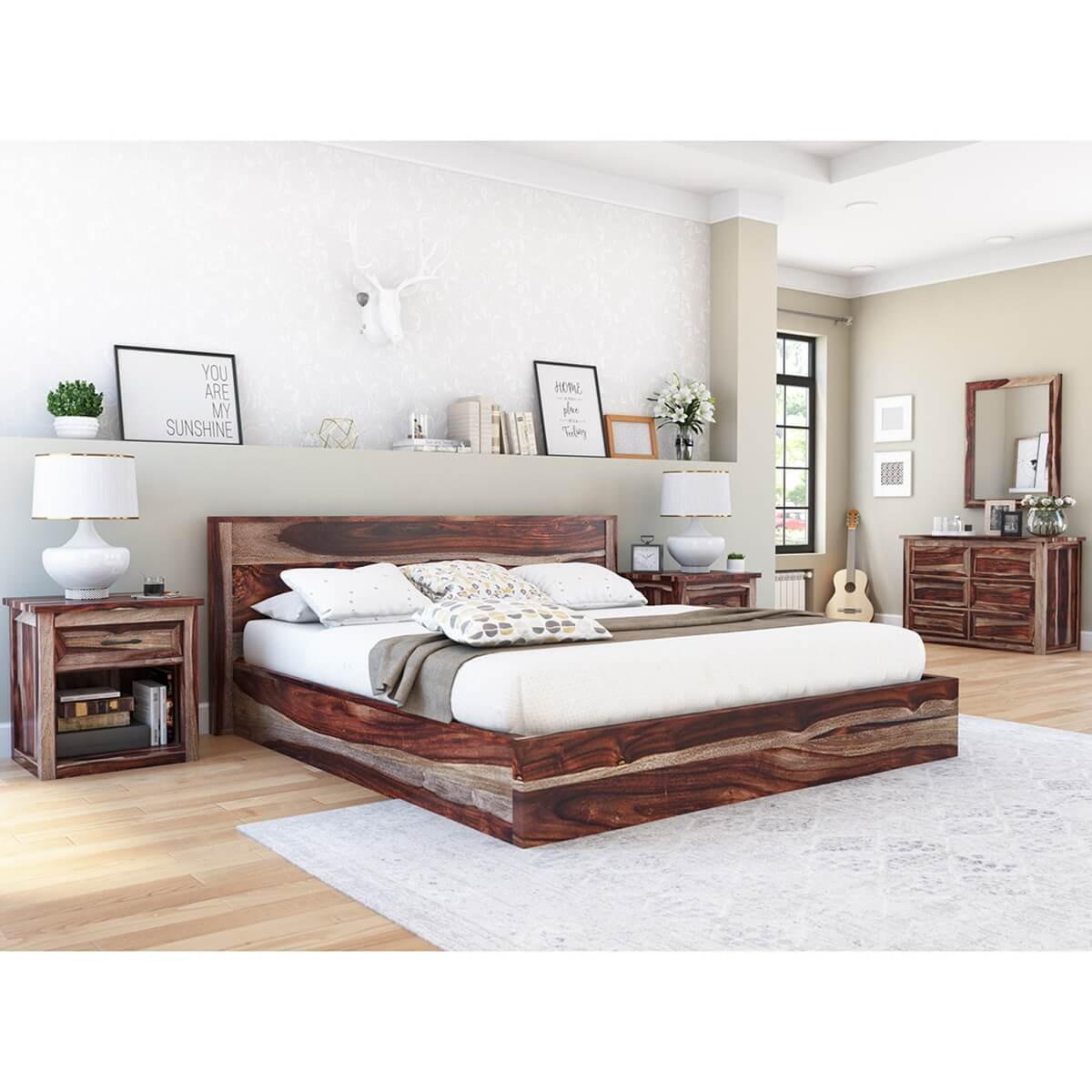 Jamaica Rustic Solid Wood 5 Piece King Size Bedroom Furniture Set