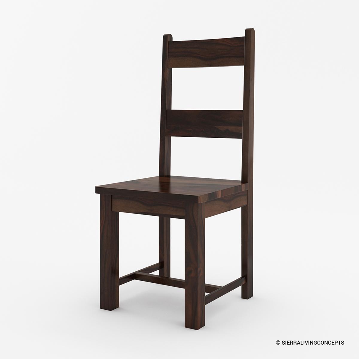 Rustic Modern Wood Dining Chair: Frisco Modern Rustic Solid Wood Ladder Back Dining Chair