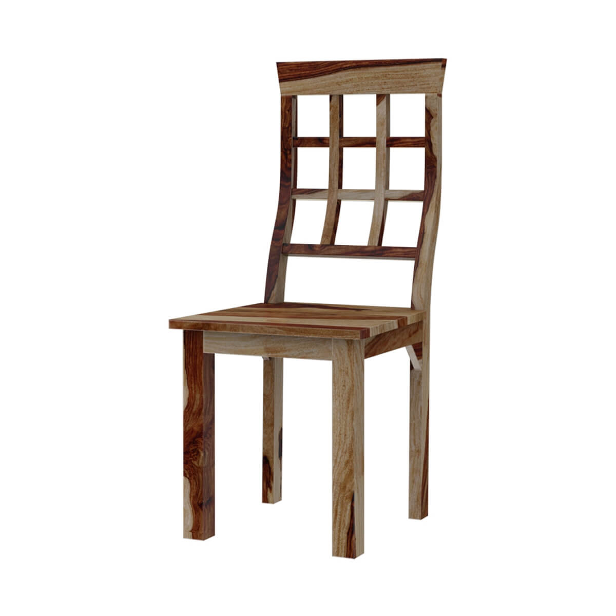 Dallas Ranch Window Pane Back Solid Wood Dining Chair