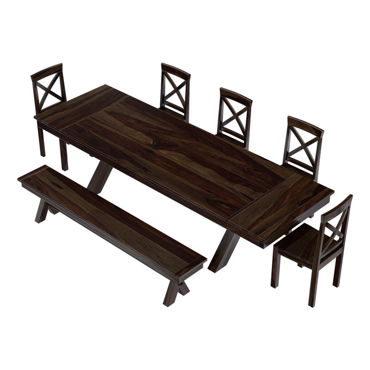 Westside Rosewood 4 Piece Large Extensions Dining Room Set