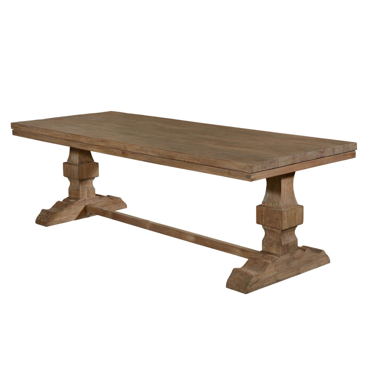 California casual rustic recycled teak trestle base dining for Rustic trestle dining table