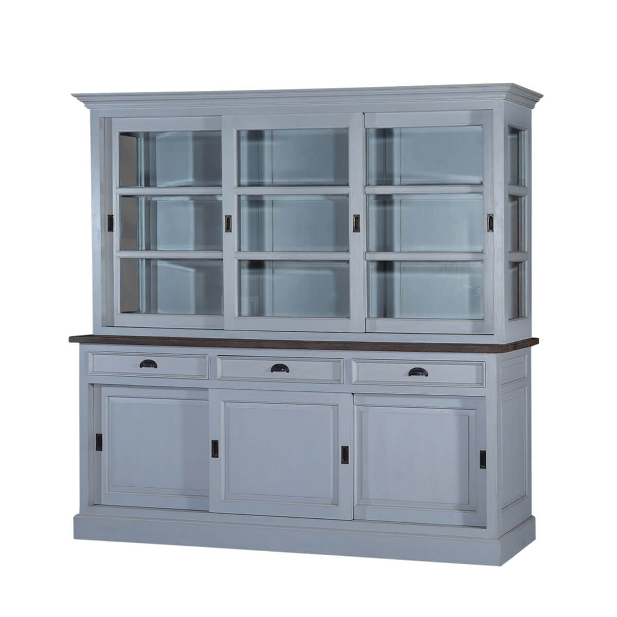 Chesterfield Teak U0026 Solid Wood Sliding Door 3 Drawer China Cabinet