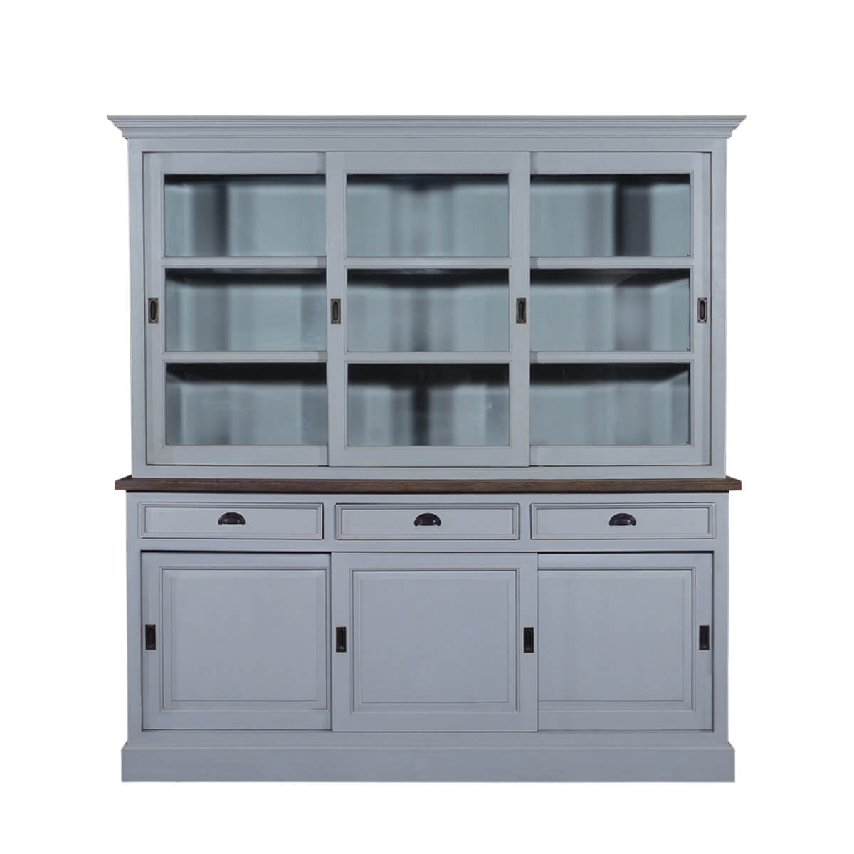 Chesterfield Teak & Solid Wood Sliding Door 3 Drawer China Cabinet