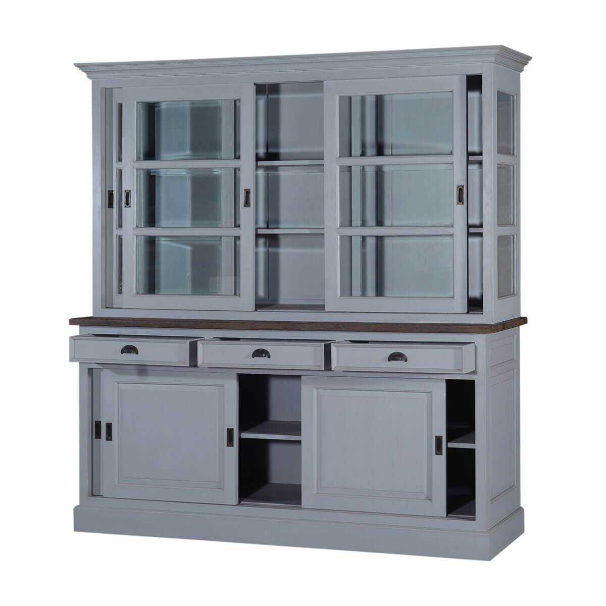 Chesterfield Teak Solid Wood Sliding Door 3 Drawer China Cabinet