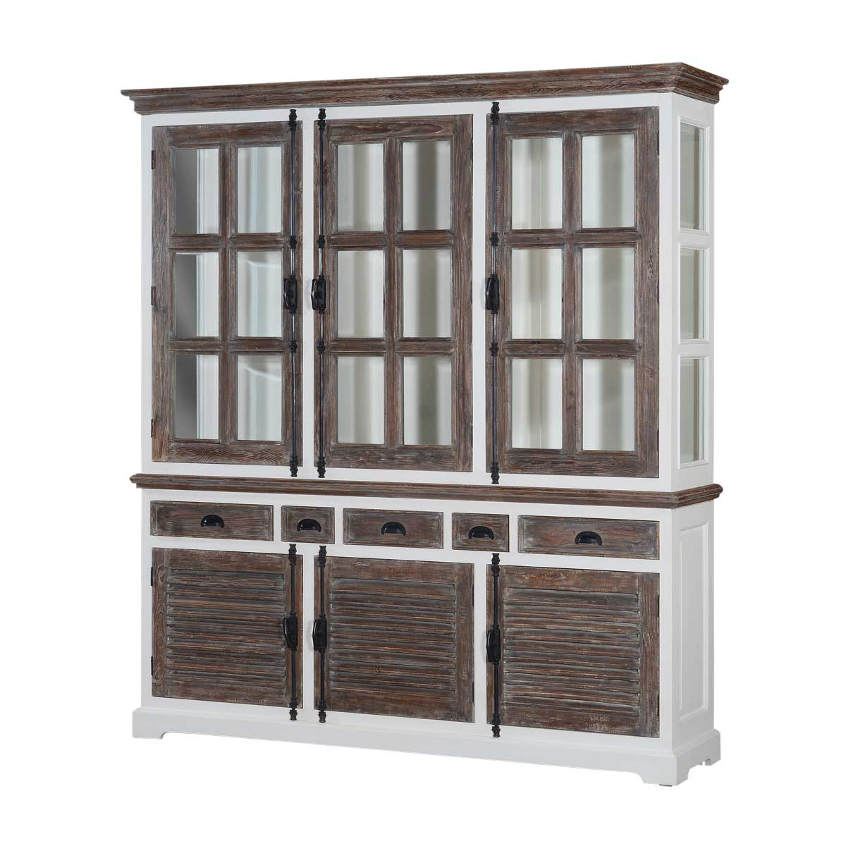 style americana solid buffet amish door wood two hutch and
