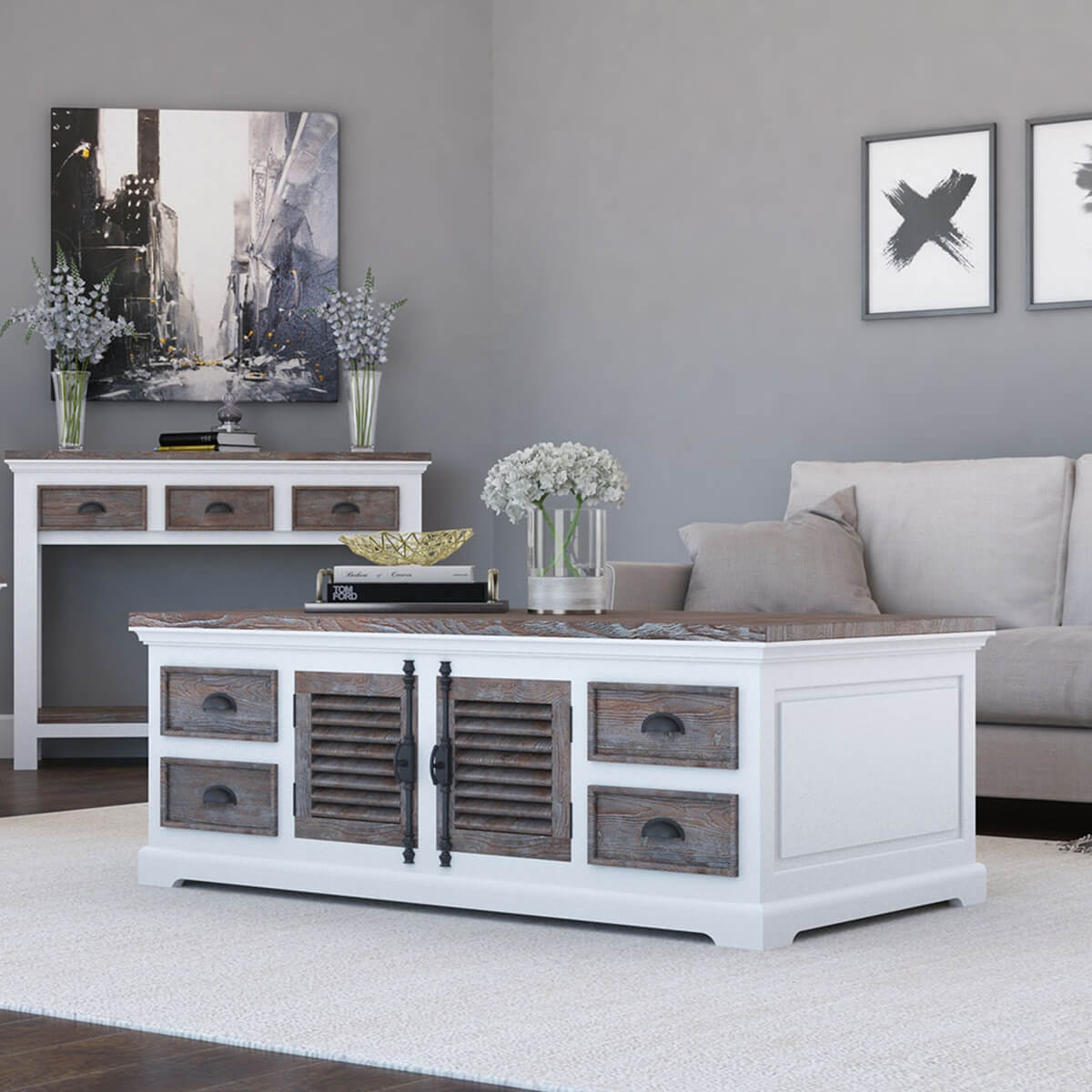 Danville modern teak and solid wood 8 drawer coffee table chest Modern teak coffee table