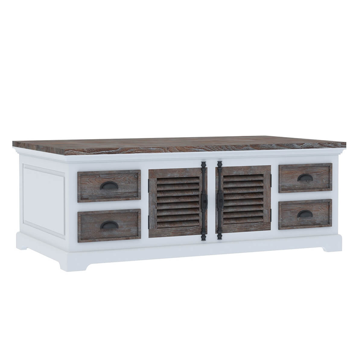 Danville Modern Teak And Solid Wood 8 Drawer Coffee Table