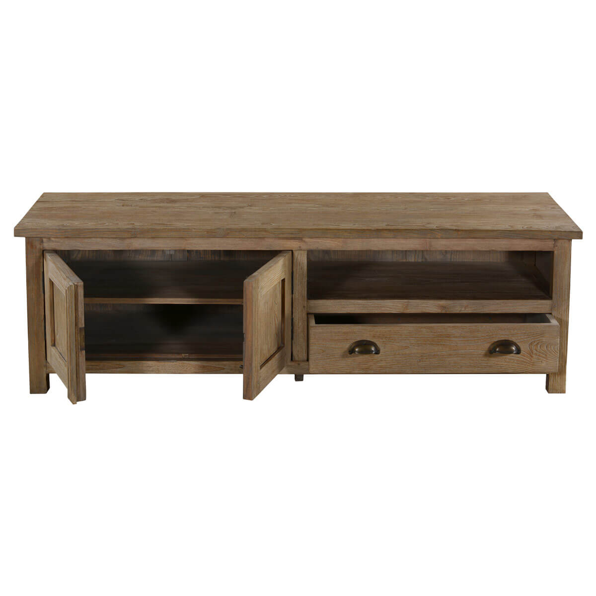 Sleek Handcrafted Teak Wood 1 Drawer TV Media Console