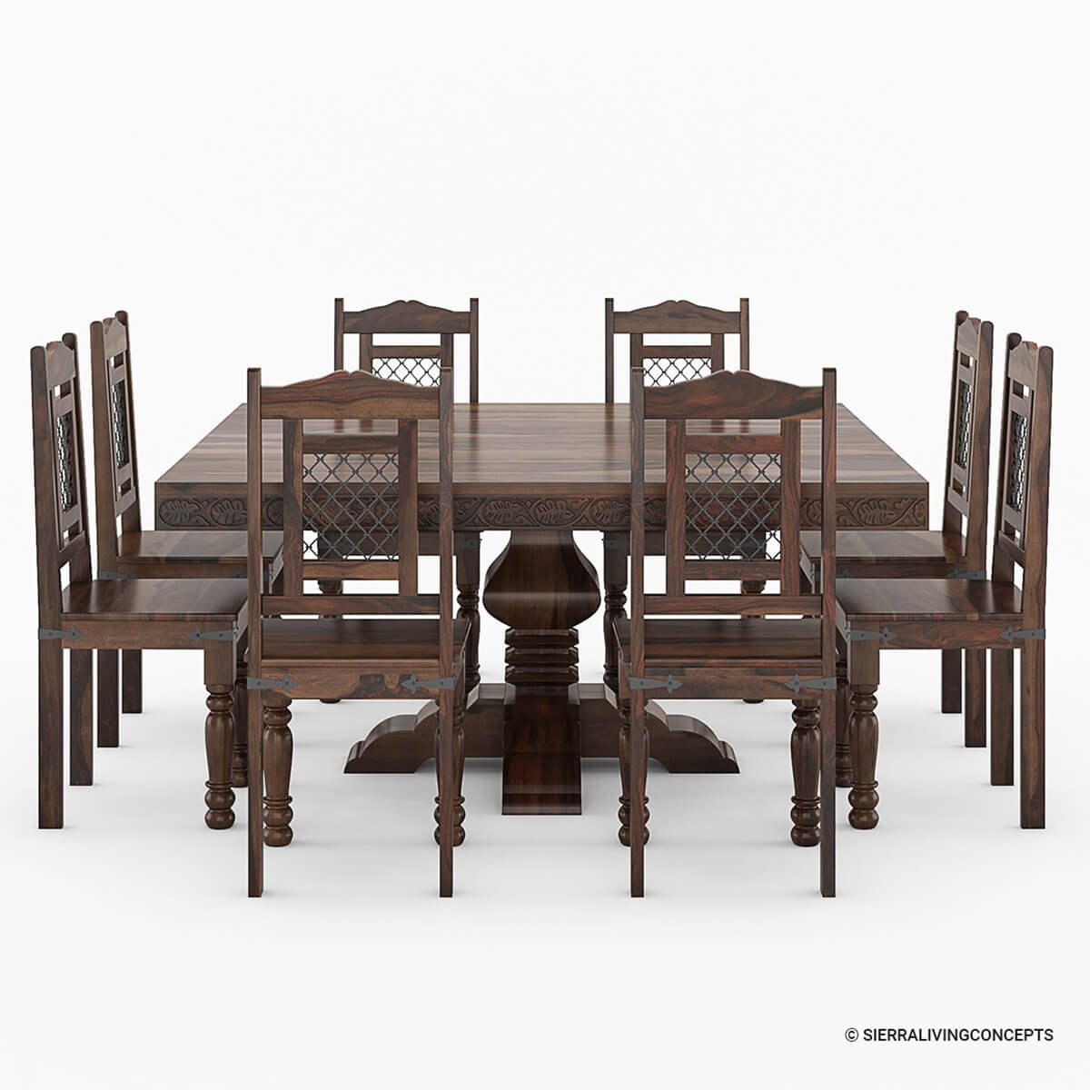 Dining Room Sets Wood: Florida Handcrafted Exquisite Solid Wood 10 Piece Dining