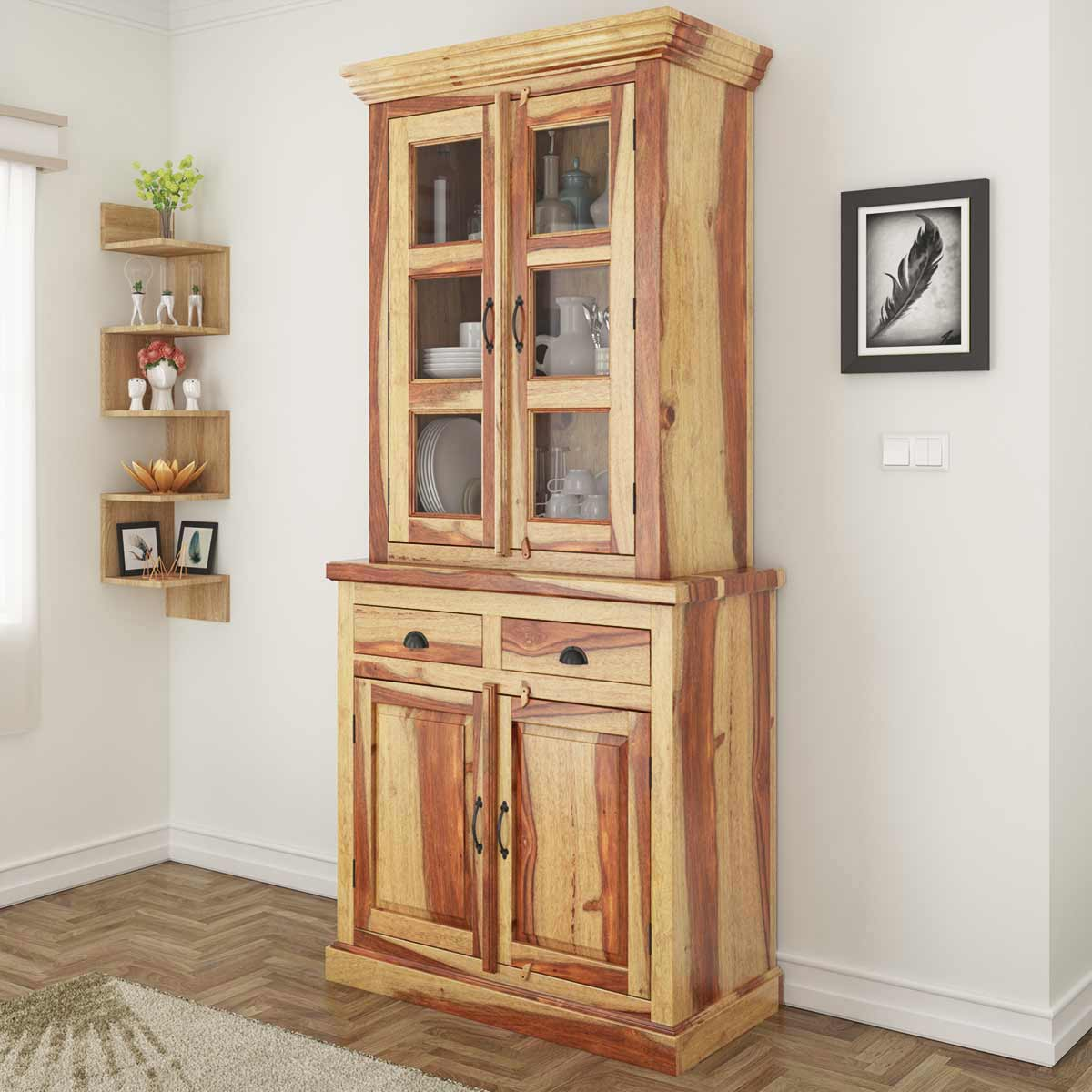 Ostrander rustic solid rosewood tall dining room hutch for Dining room hutch