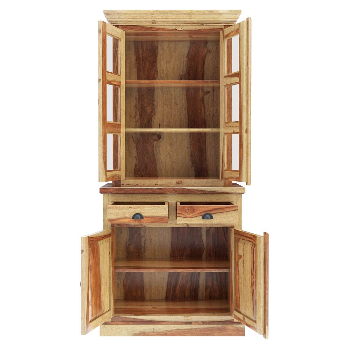 Rustic Solid Rosewood Tall Dining Room Hutch