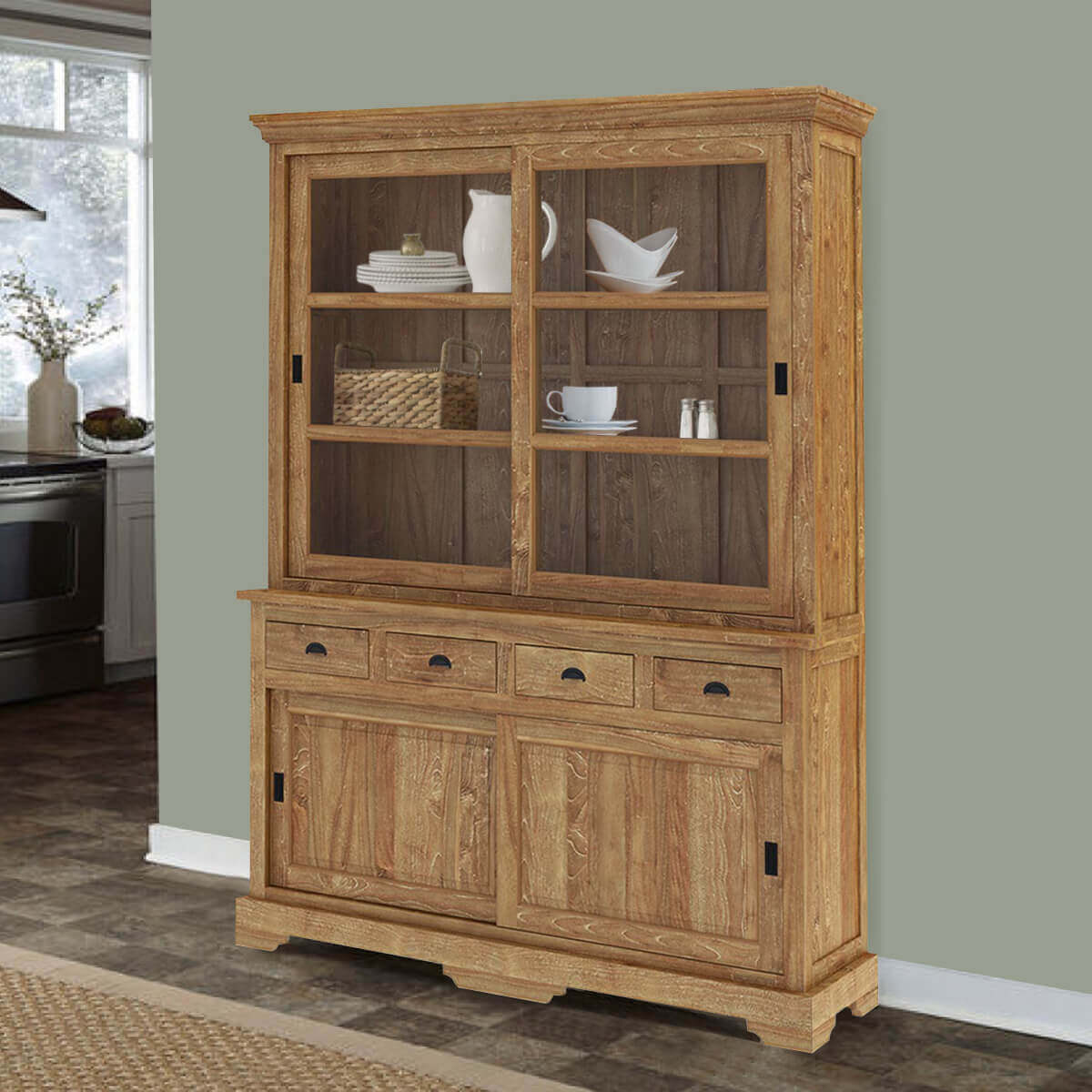 brussels reclaimed teak wood sliding glass door 4 drawer china cabinet. Black Bedroom Furniture Sets. Home Design Ideas