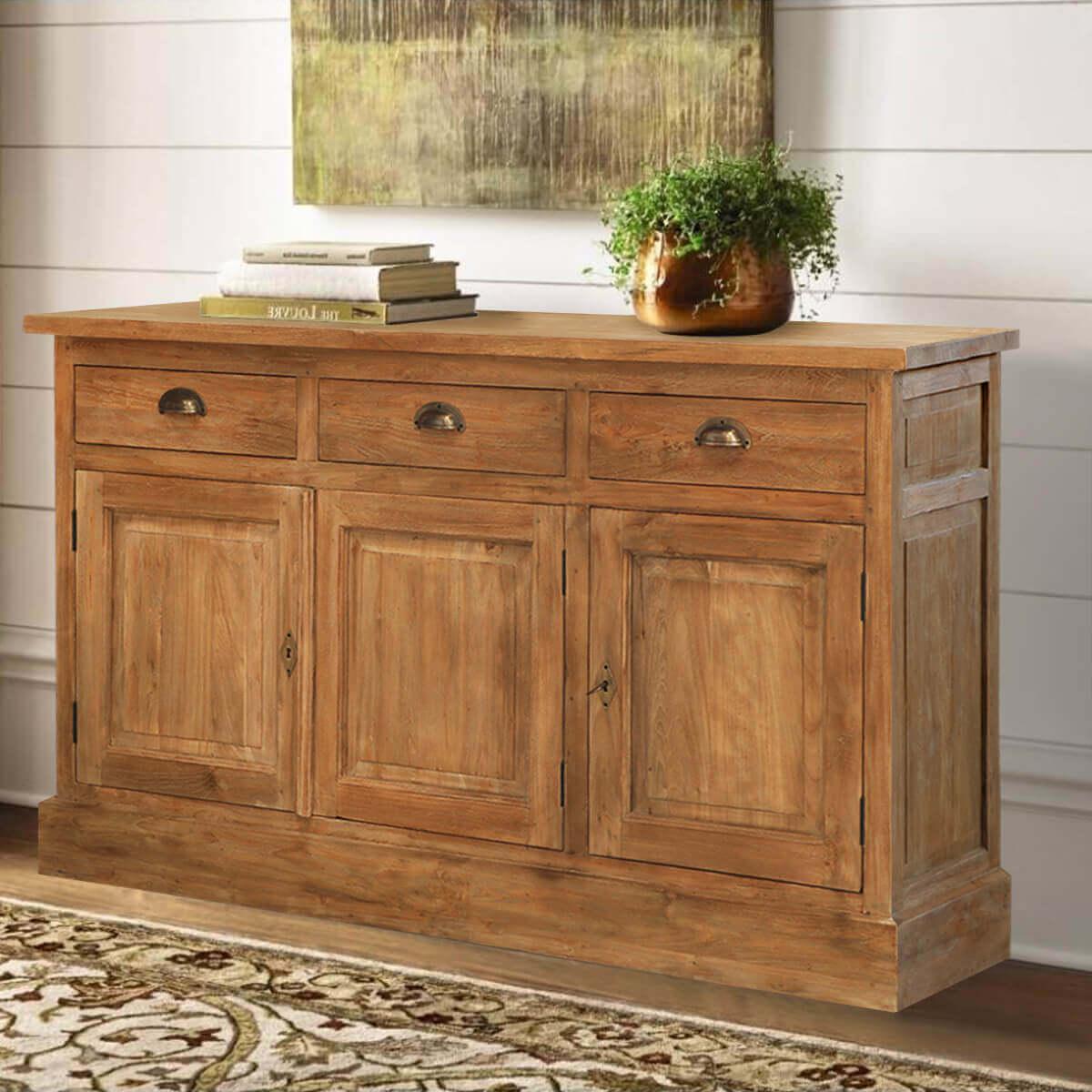 Teak Wood Buffet ~ Heurich traditional reclaimed teak wood drawer sideboard