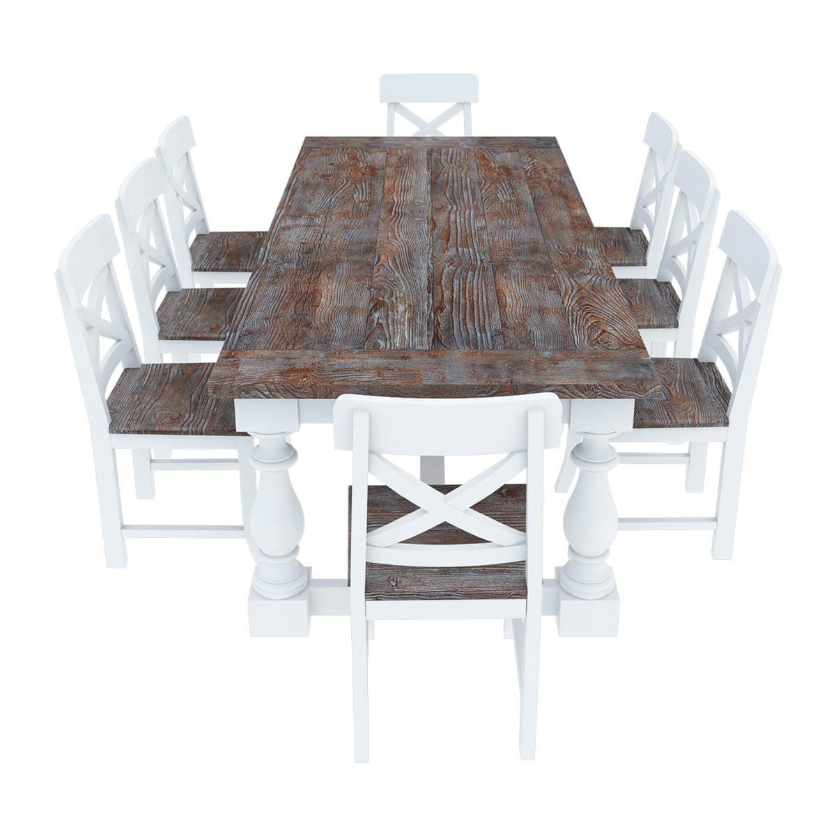 Teak Dining Table And Chairs: Danville Modern Teak And Solid Wood Dining Table With 8