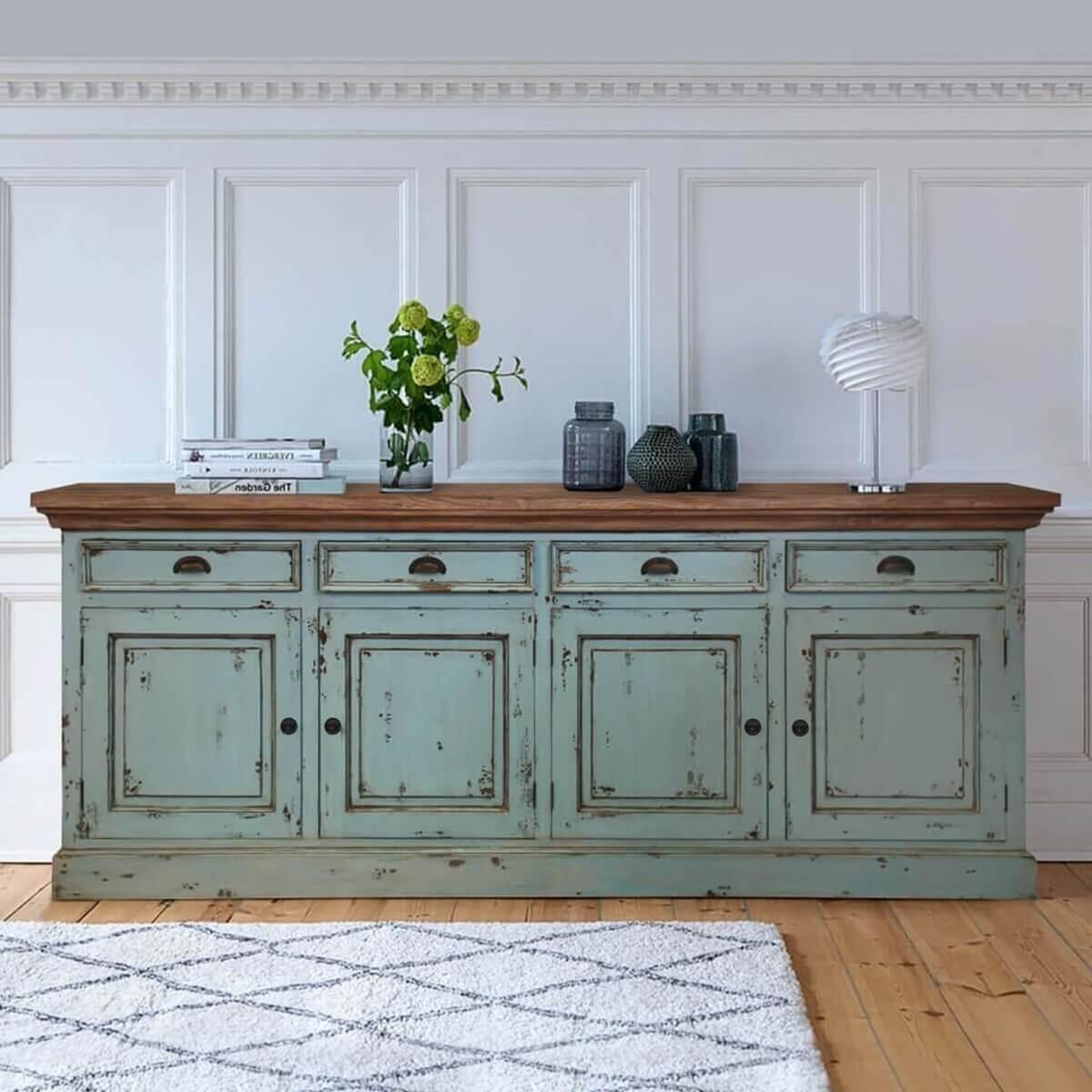 Two Tone Kitchen Cabinets Oak: Scranton Ocean Blue Two Tone Solid Wood 4 Drawer Large
