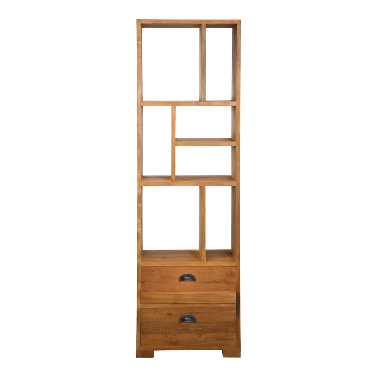 Reclaimed Teak Wood Asymmetrical Shelves Bookcase With Drawer