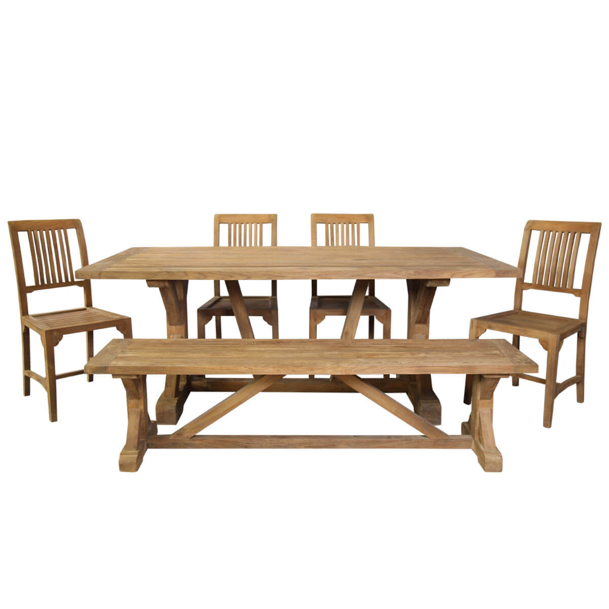 Fulton Teak Wood Trestle Base Dining Table With 4 Chairs