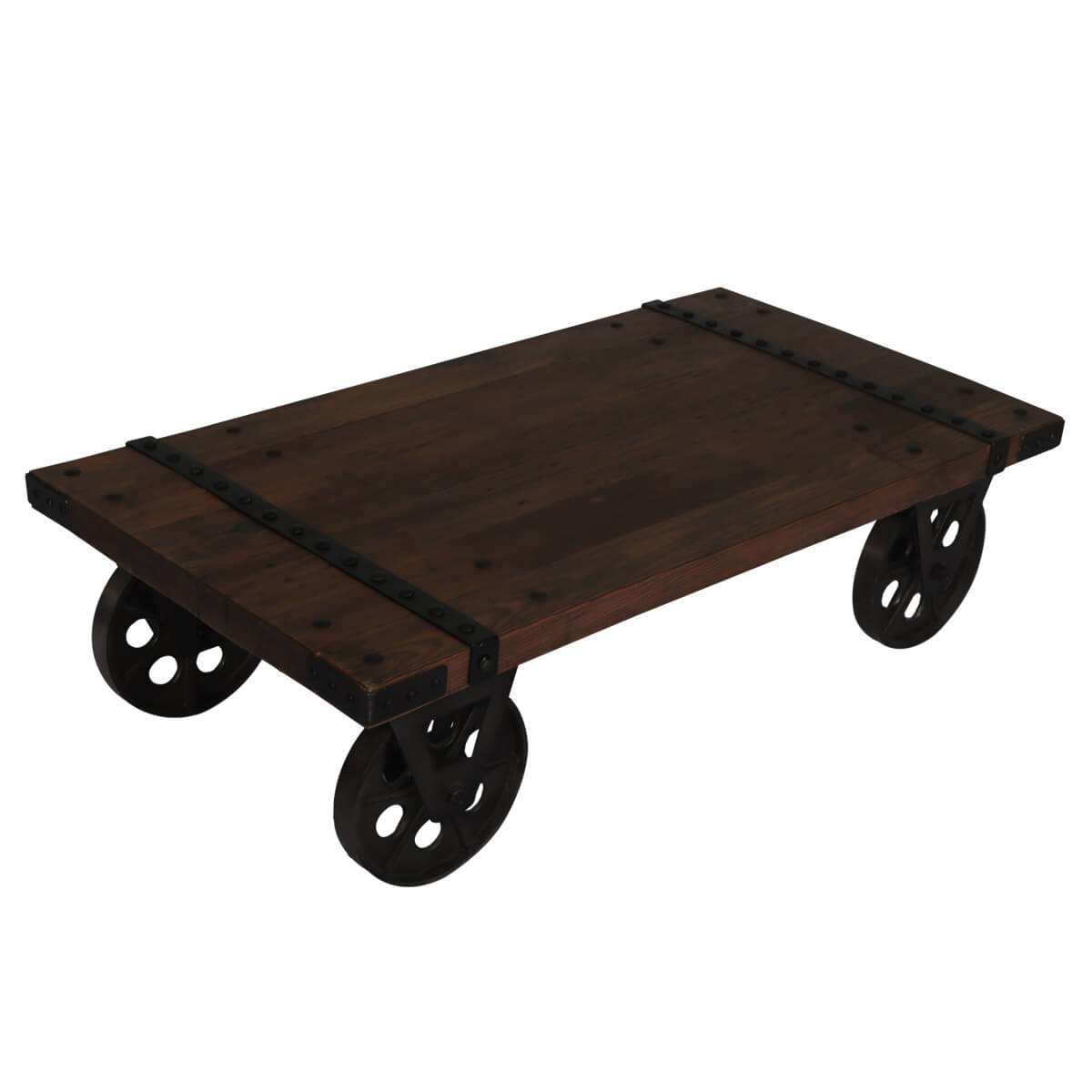 Cheap Factory Cart Coffee Tables: Somers Rustic Recycled Teak Wood Industrial Factory Cart