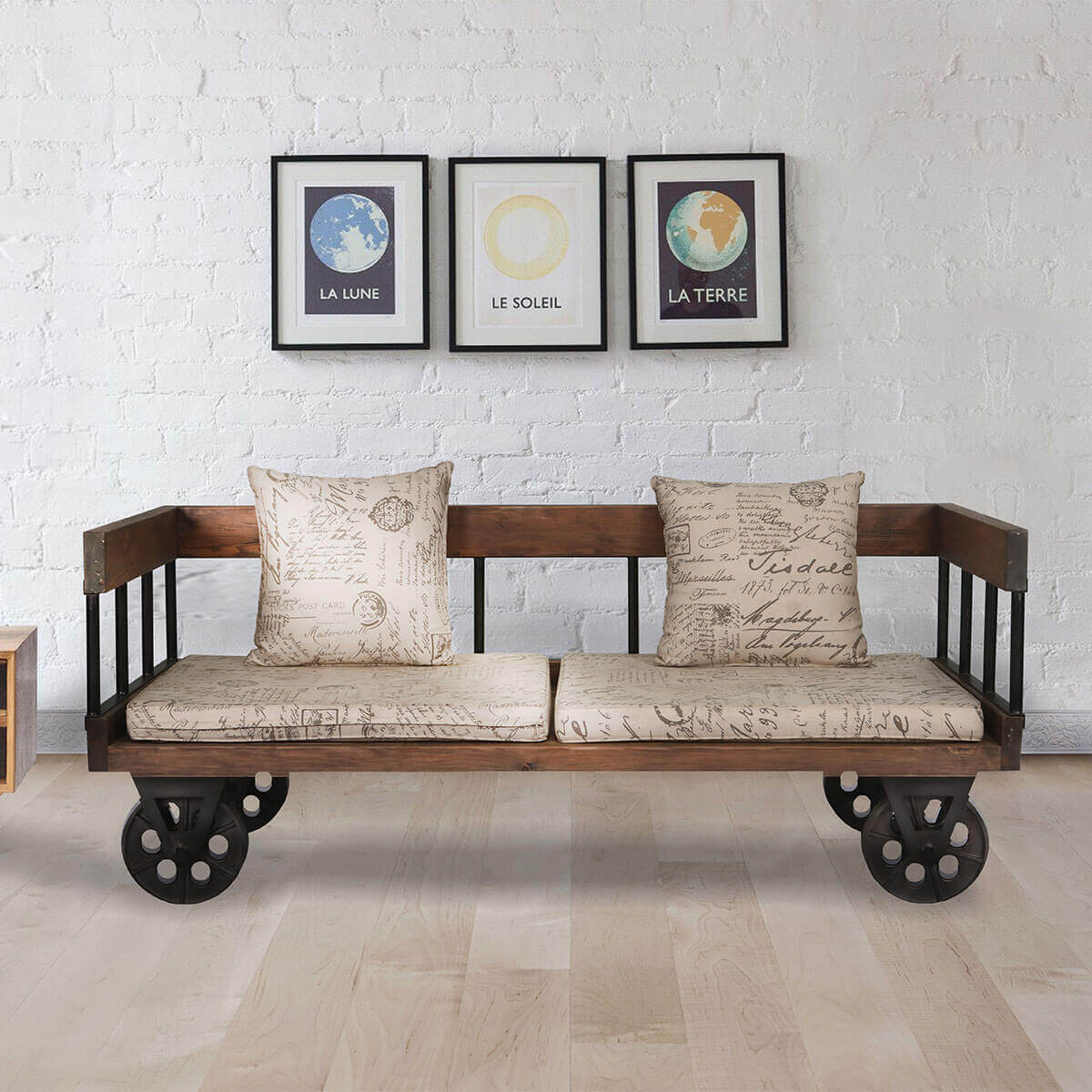 lamlam reclaimed teak wood upholstered two seat industrial style sofa. Black Bedroom Furniture Sets. Home Design Ideas