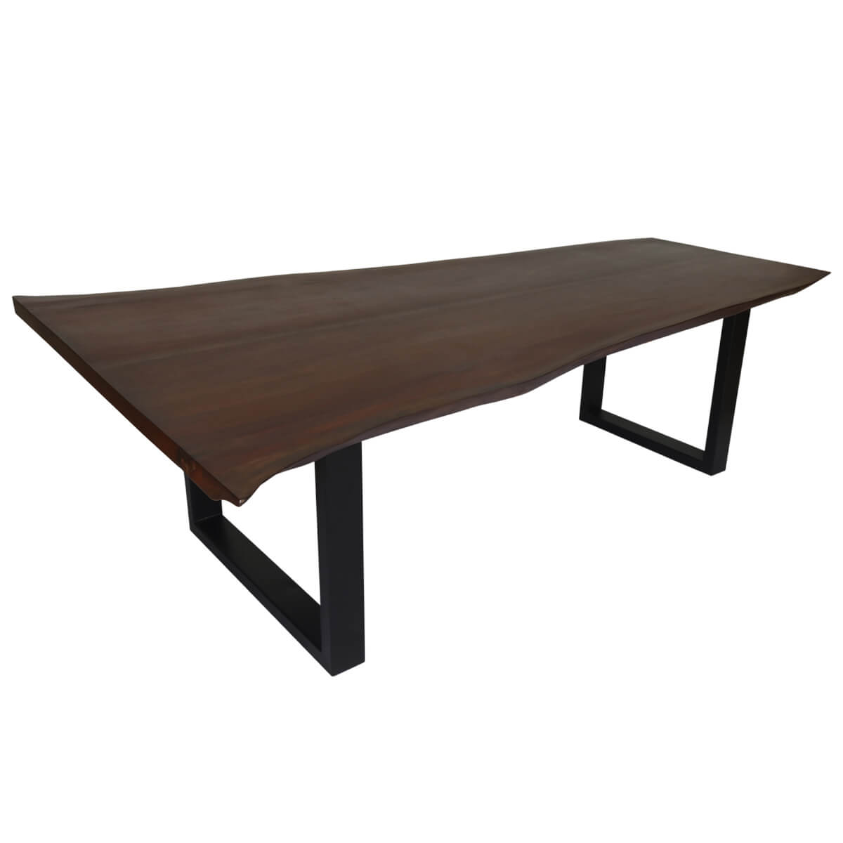 Wayne handcrafted dark solid wood large live edge dining table for Dark wood dining table