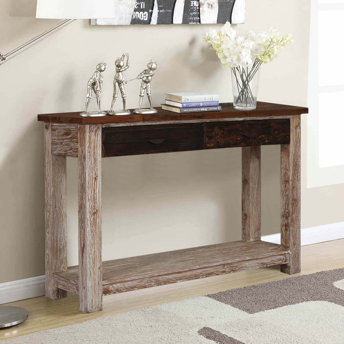 Foyer Console Questions : Santino rugged reclaimed wood drawer entryway console table