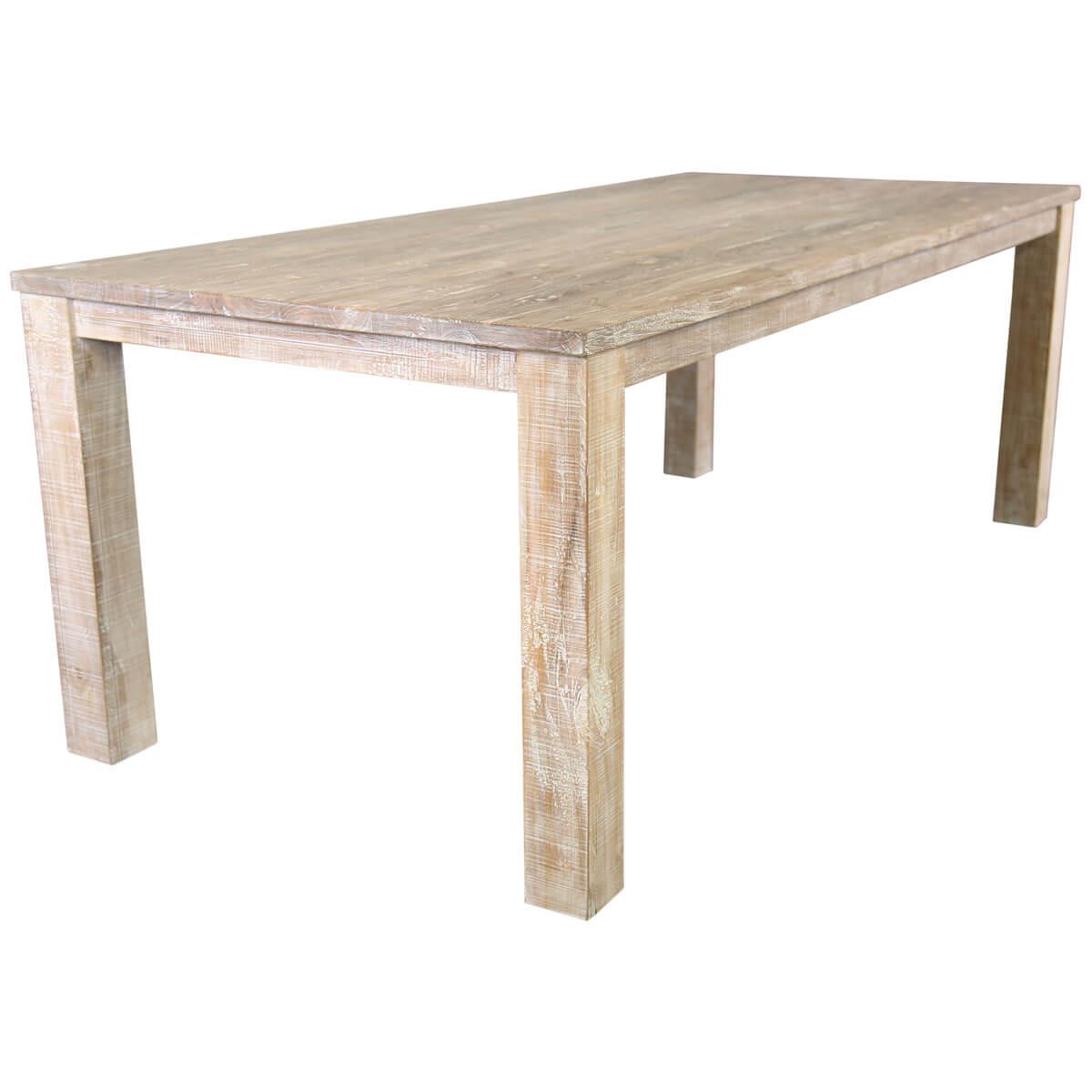 White Wash Wood Dining Table: Durham Handcrafted White Wash Recycled Teak Wood Large